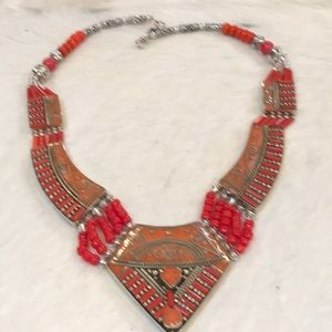 """Tibetan Silver and Coral Necklace 22"""""""